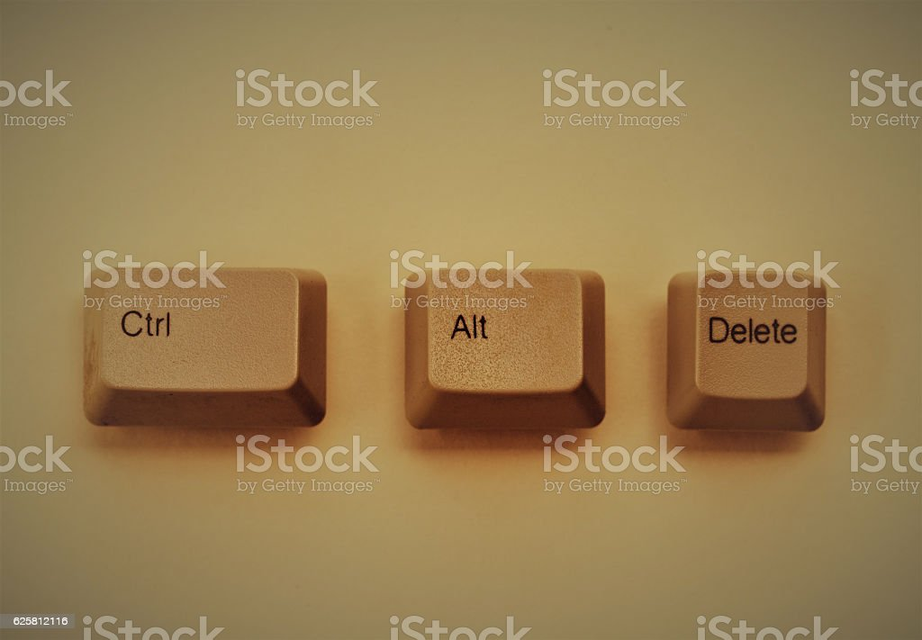 Control Alt Delete computer keyboard keys stock photo