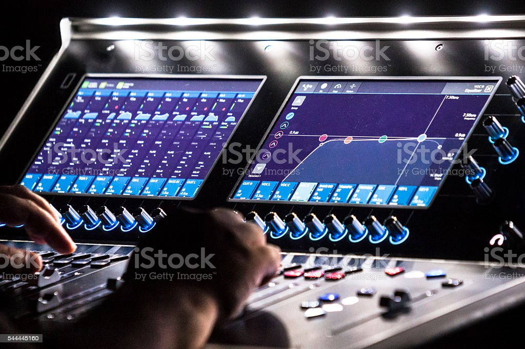 Control board on concert stock photo