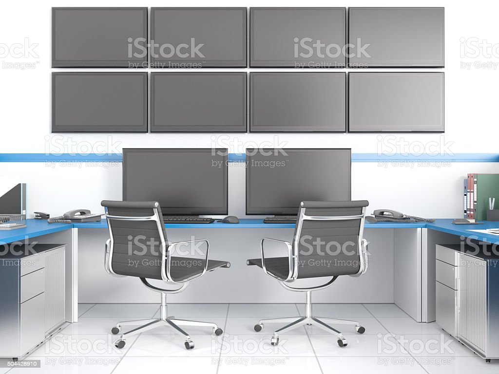 Control center with clipping path screen stock photo