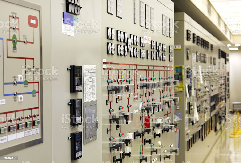 Control desk at power plant stock photo