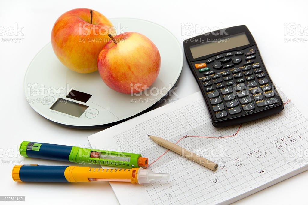 Control diabetes - counting carbohydrates for thoroughly insulin treatment stock photo