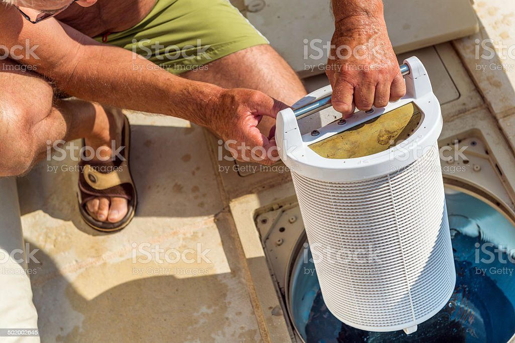 Control filtration system pool stock photo