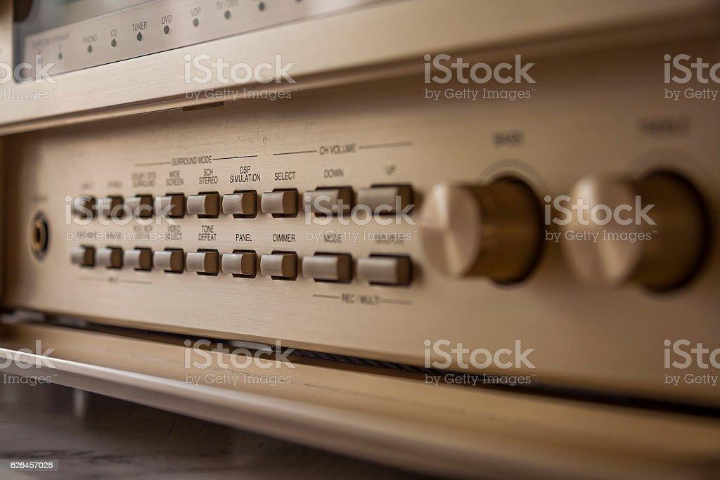 Control knobs of vintage AV amplifier stock photo