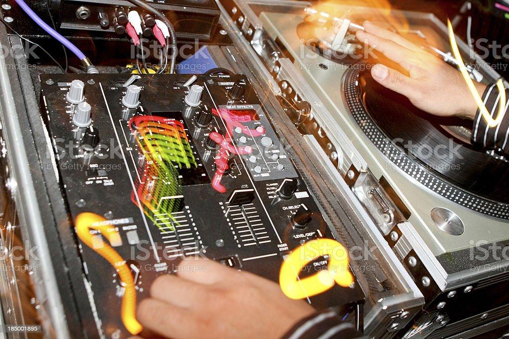 Control panel & Hands DJ playing on vinyl in nightclub royalty-free stock photo