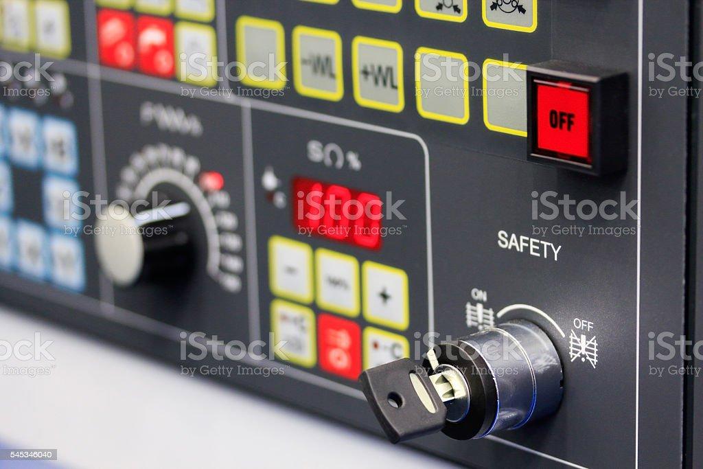 control panel closeup stock photo