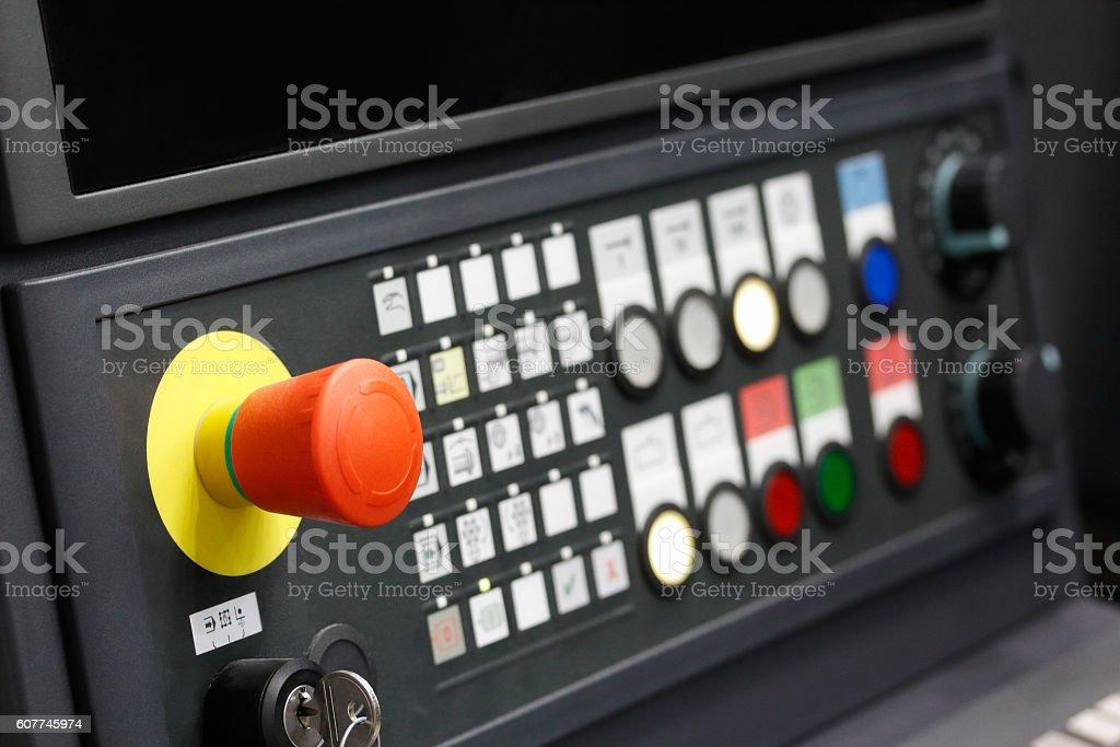 CNC control panel closeup stock photo