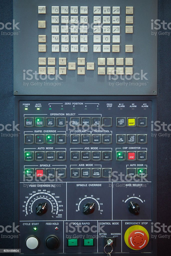 Control panel detail stock photo