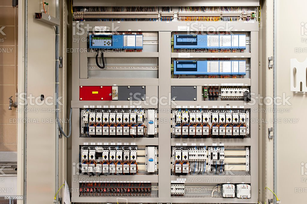 Control panel for central heating and airconditioning system stock photo