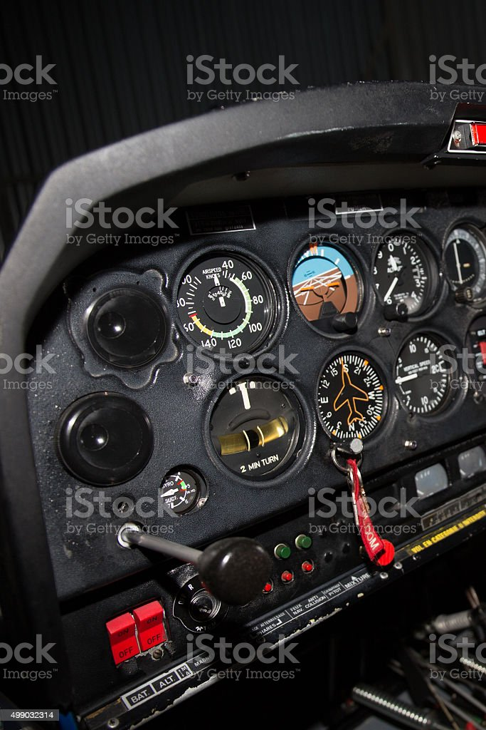 Control panel in the small cockpit of a small plane. stock photo