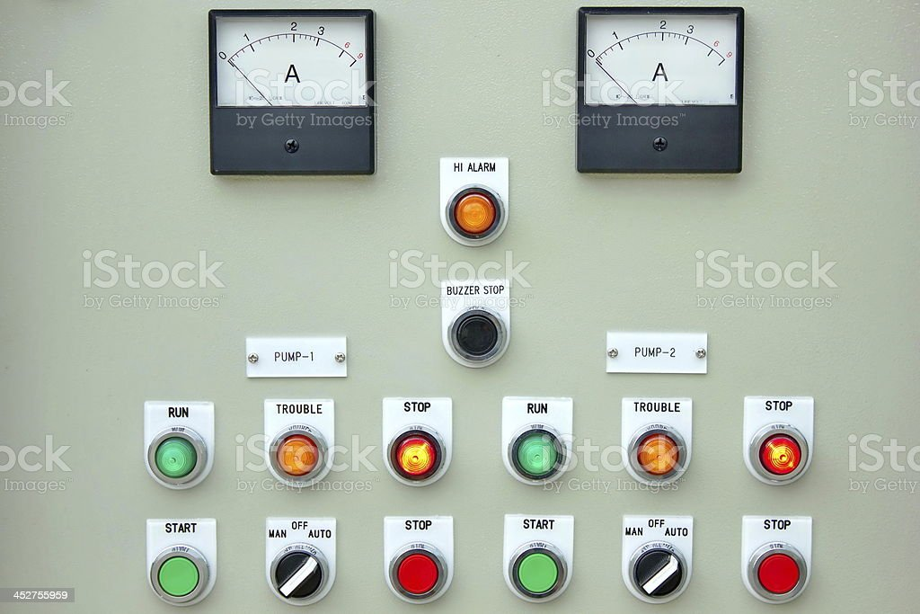 Control panel lights. stock photo