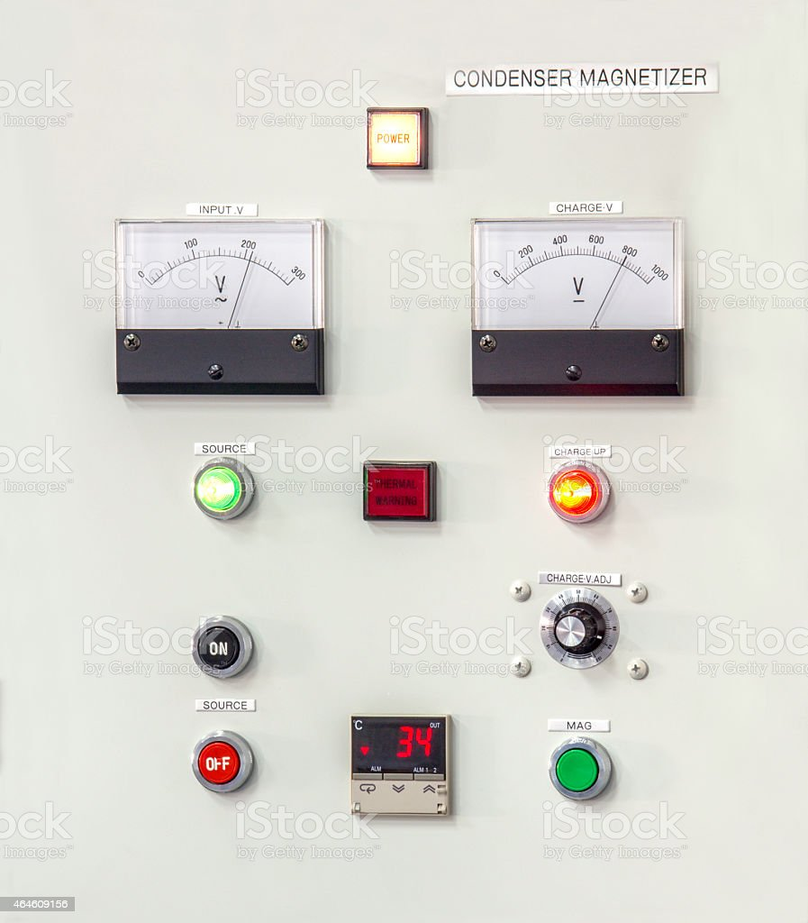 Control panel lights stock photo