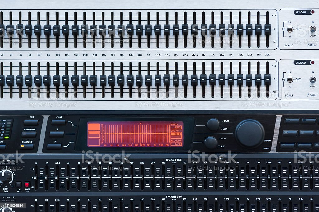 Control panel of a mixer - graphic equaliser stock photo