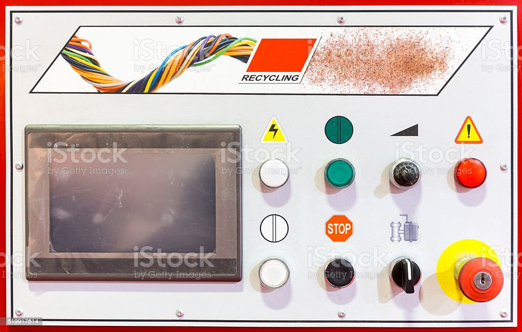 Control panel of a recycling machine stock photo