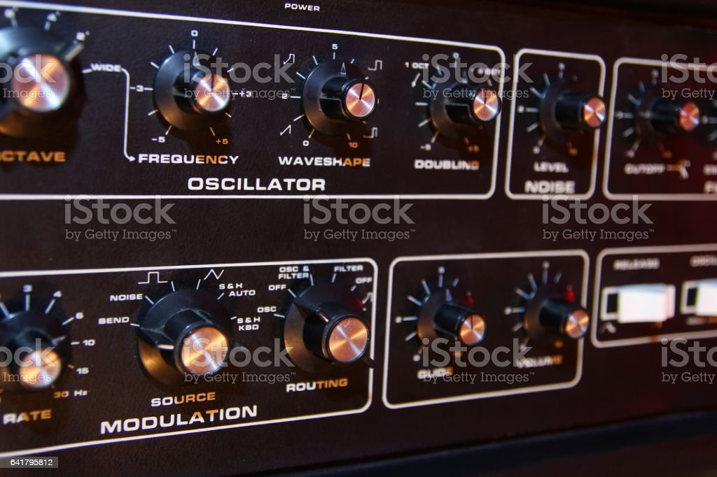 Control panel of a retro vintage electronic music synth stock photo