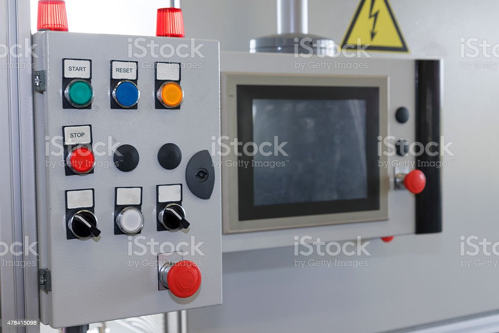 Control panel of assembly line stock photo