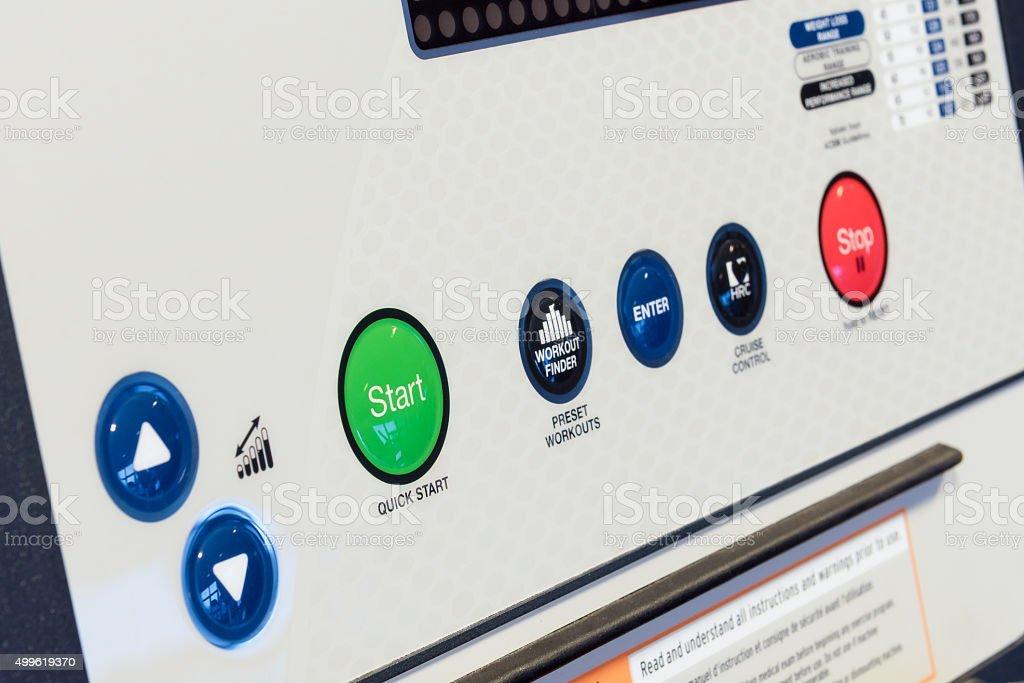 Control panel of cardio machine stock photo
