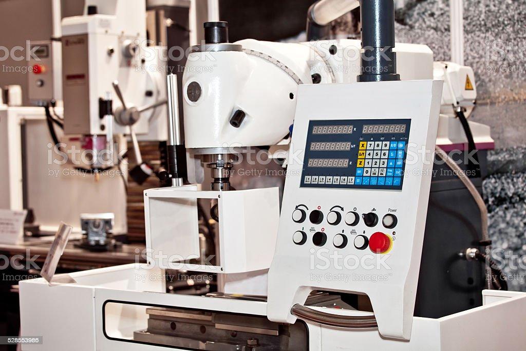 Control panel of CNC machine stock photo