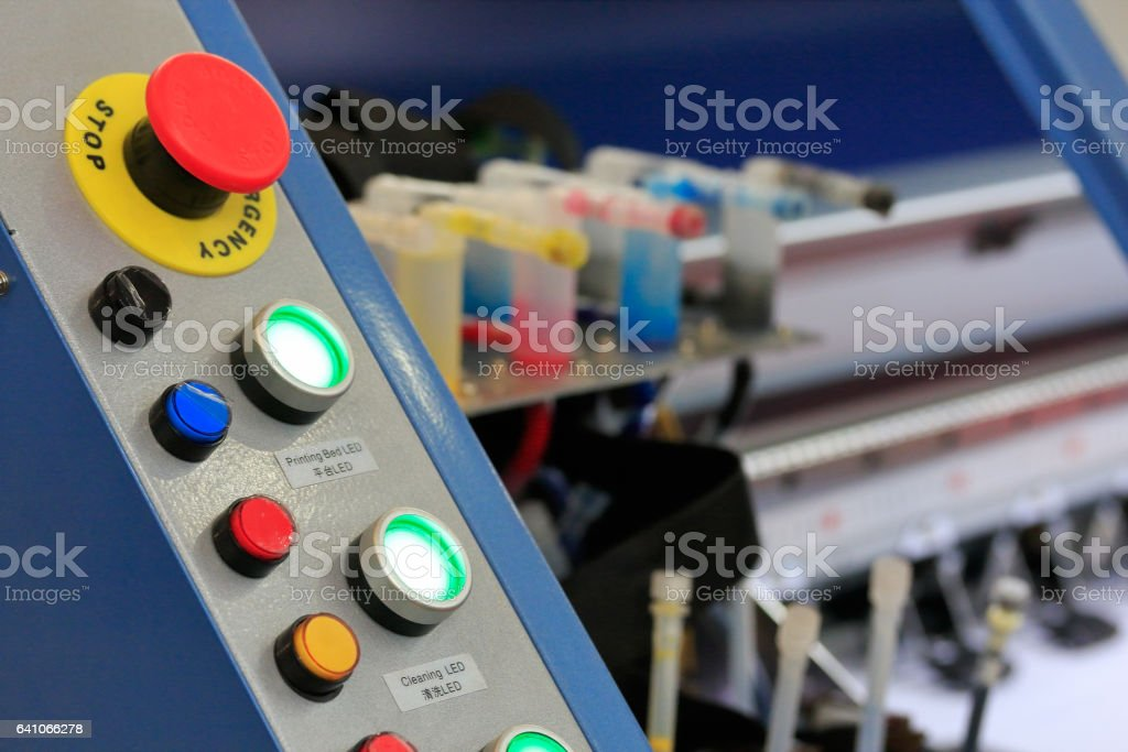 control panel of large format printer stock photo