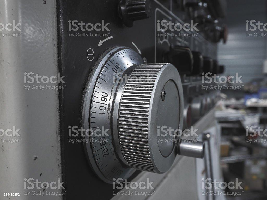 Control panel of machine. stock photo
