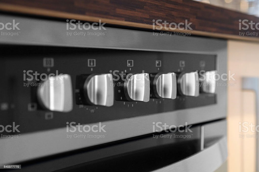 Control panel of modern stove and oven stock photo