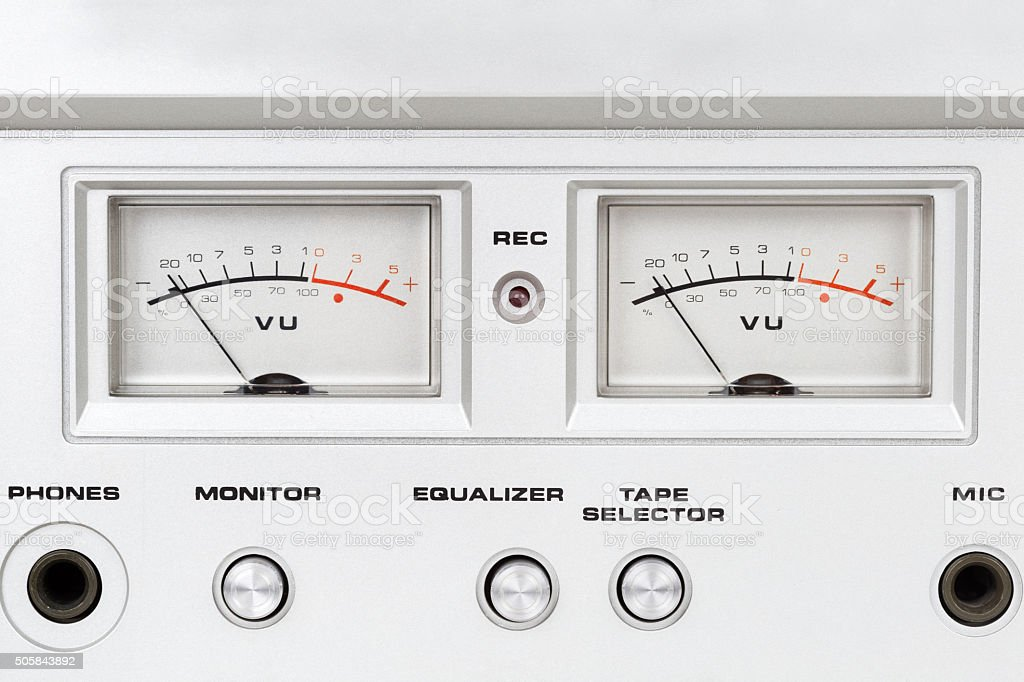 control panel of old reel tape recorder stock photo