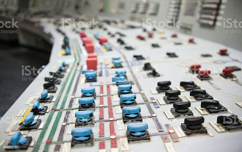 Control panel of the nuclear power plant stock photo