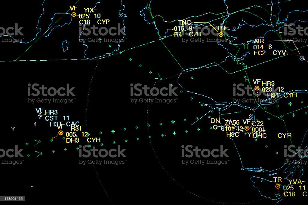 Control panel Radar of Air Traffic Cotrol stock photo