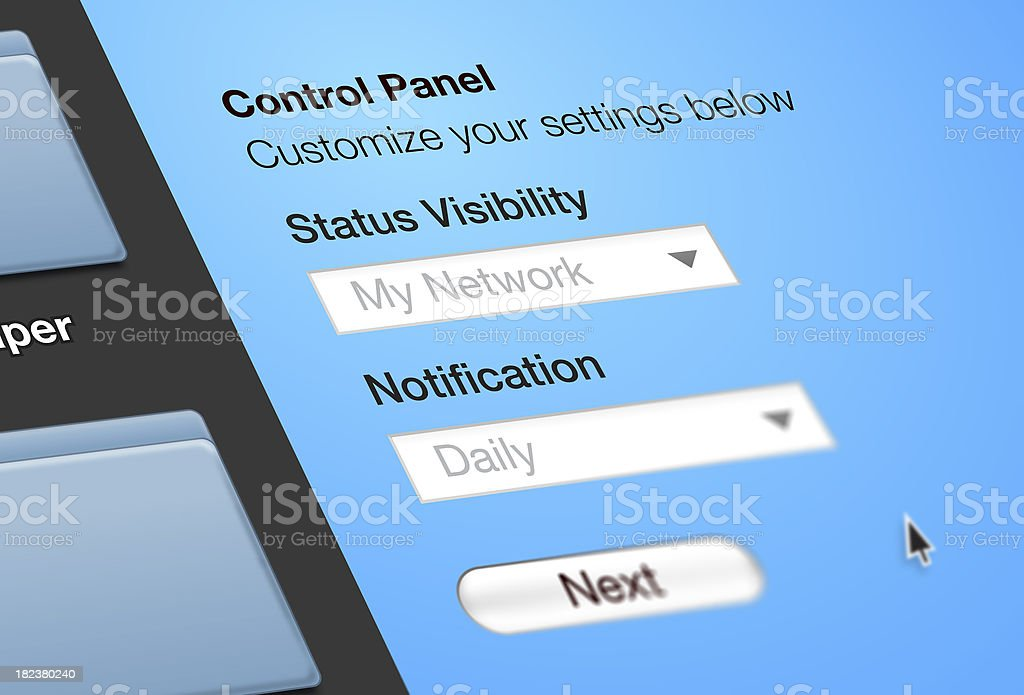 Control Panel Settings royalty-free stock photo