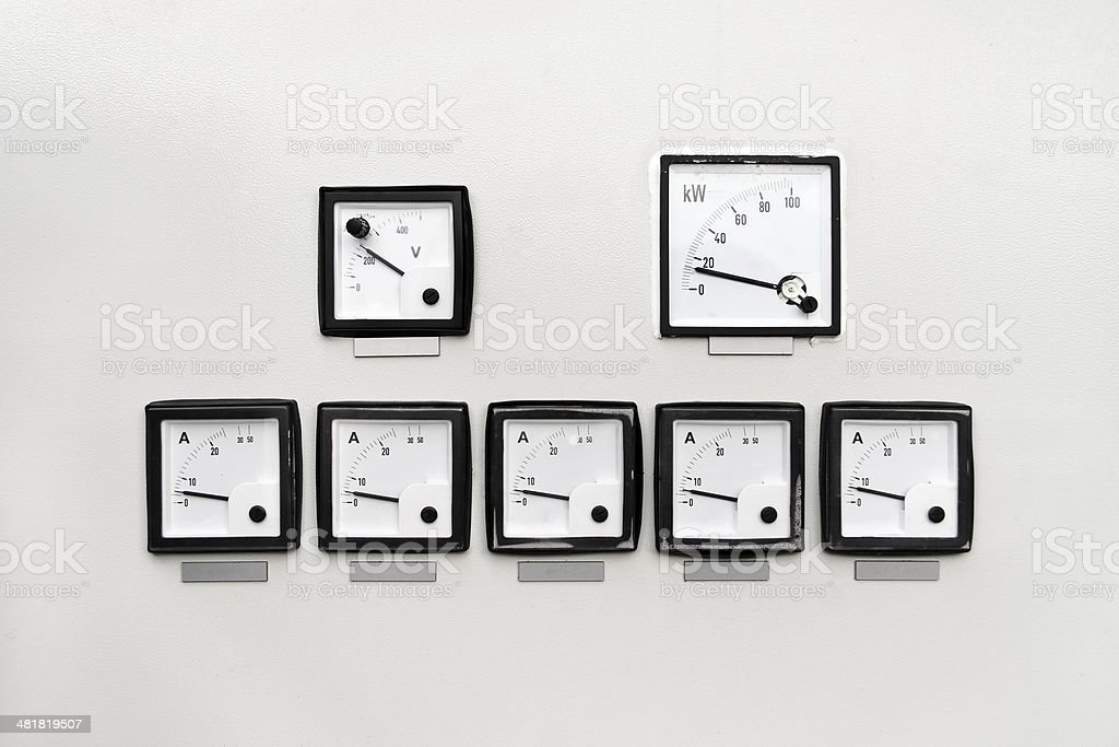 Control panel with ampere, volt and watt meter stock photo
