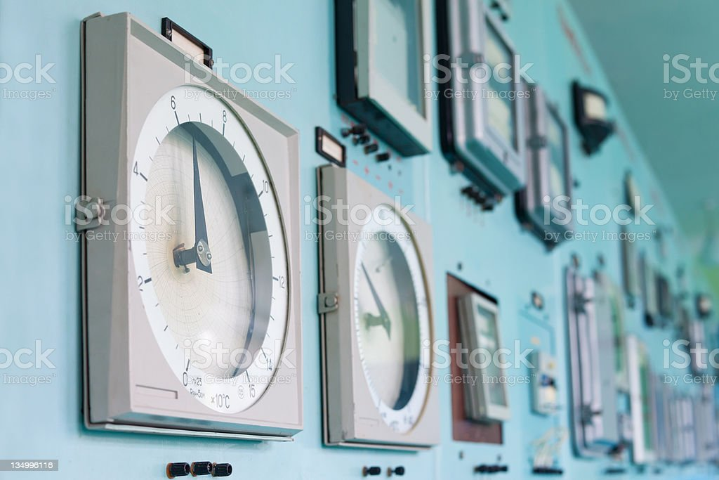 Control panel with instrumentation royalty-free stock photo