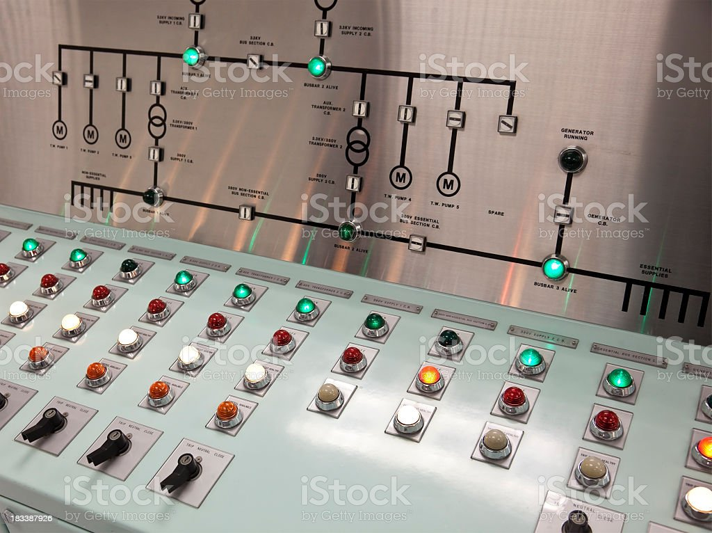 Control panel with lit up buttons and a metal display royalty-free stock photo