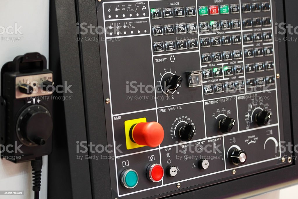 CNC control panel with pendant stock photo