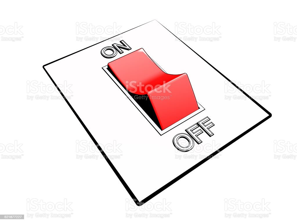 control panel with red power switch button in on mode stock photo