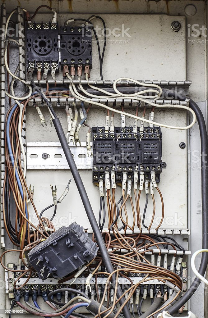 Control panel with wiring - cords old. stock photo