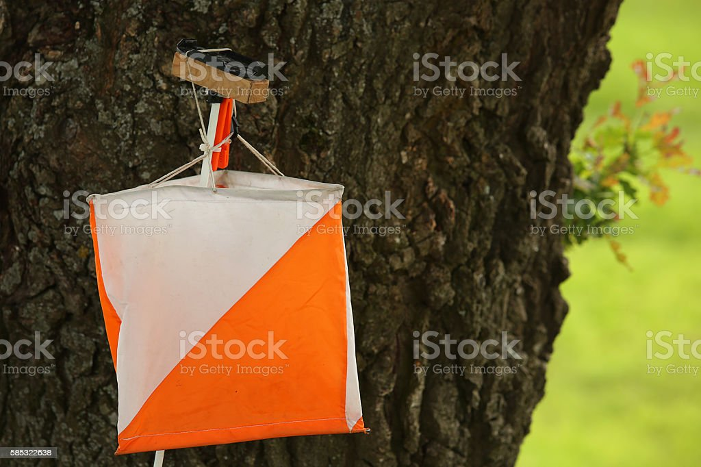 control point sign in orienteering stock photo