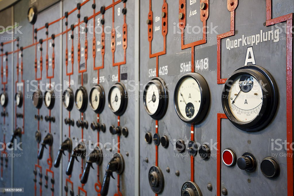 Control Room Handles And Displays royalty-free stock photo