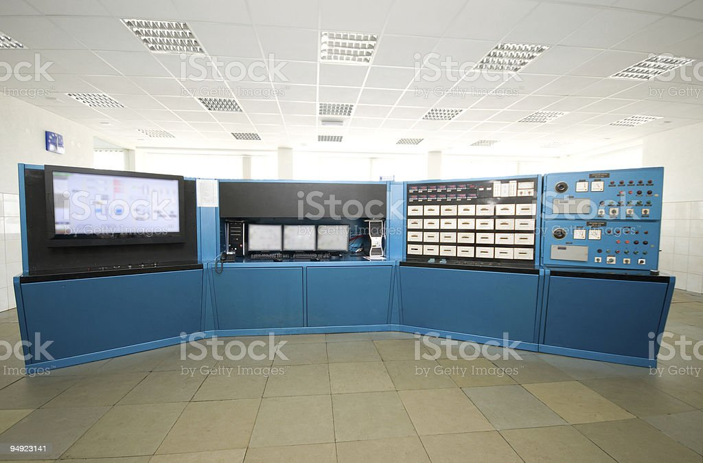 Control room in a large warehouse royalty-free stock photo