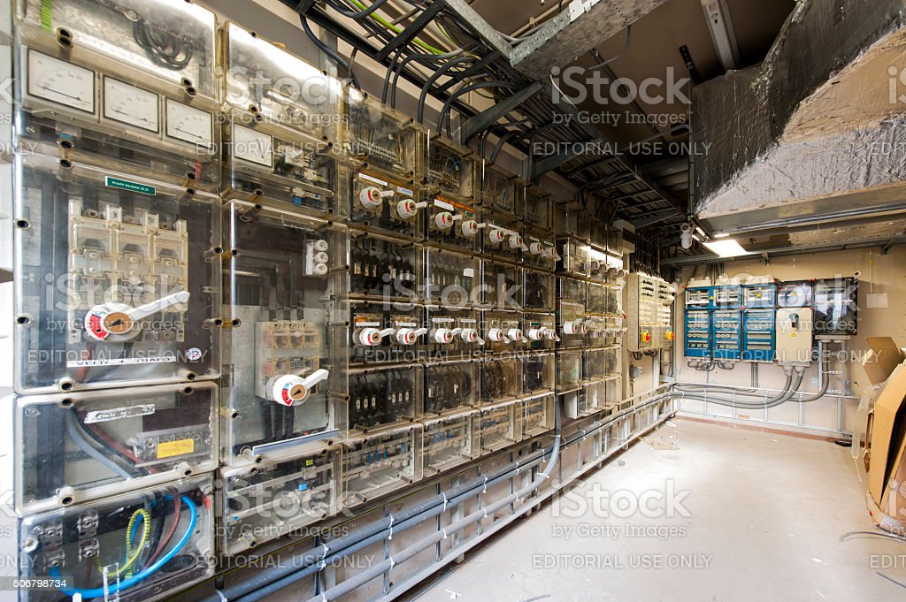 Control room of the main power system in a building stock photo