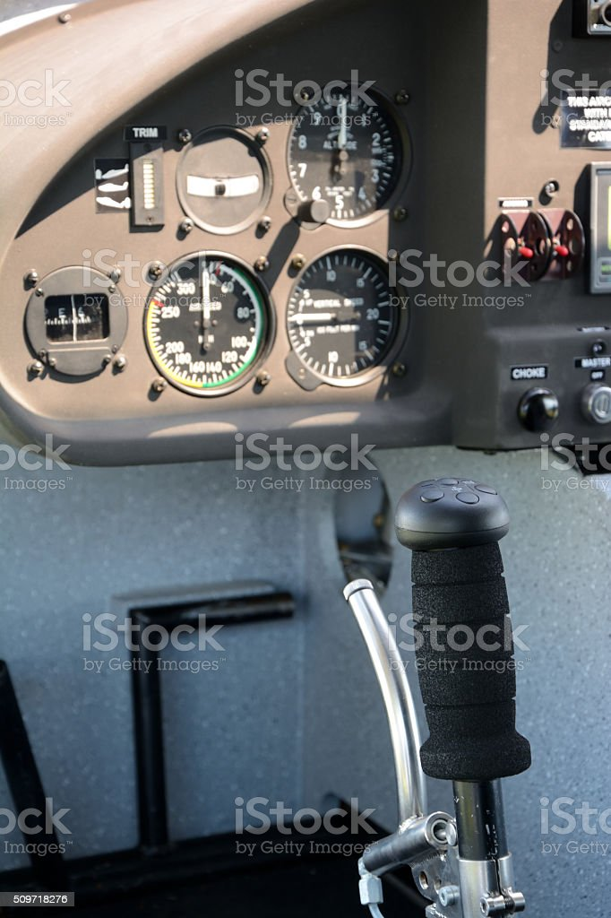 Control stick and flight instruments stock photo