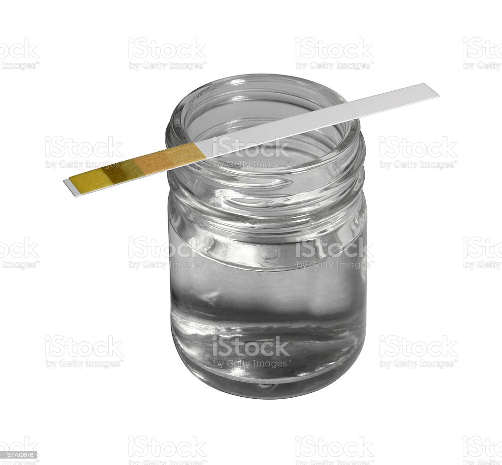 control stripe on small glass bottle stock photo