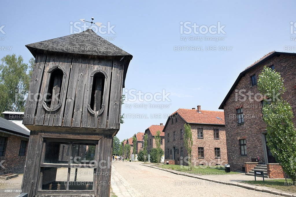 Control tower and barracks in Auschwitz concentration camp. Poland royalty-free stock photo
