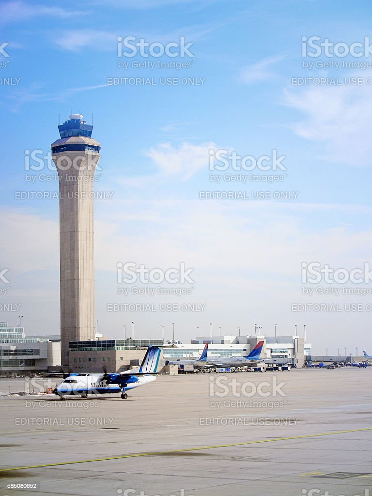 Control Tower at Denver International Airport stock photo