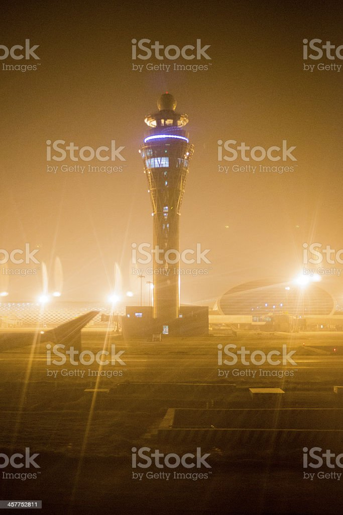 Control Tower at Night stock photo