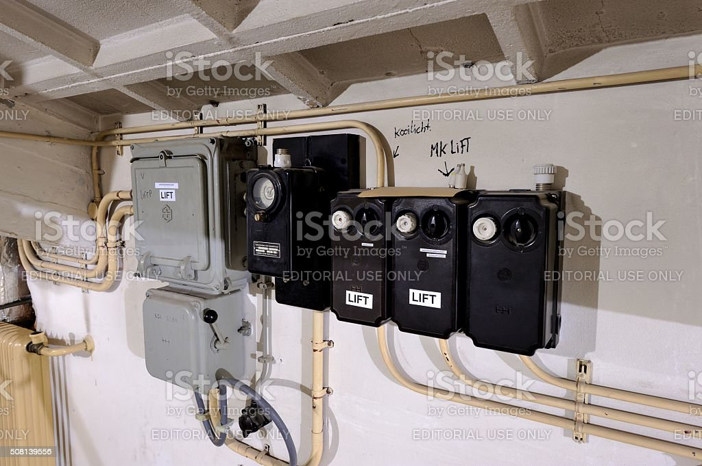 Control units securing the electic current to an elevator. stock photo
