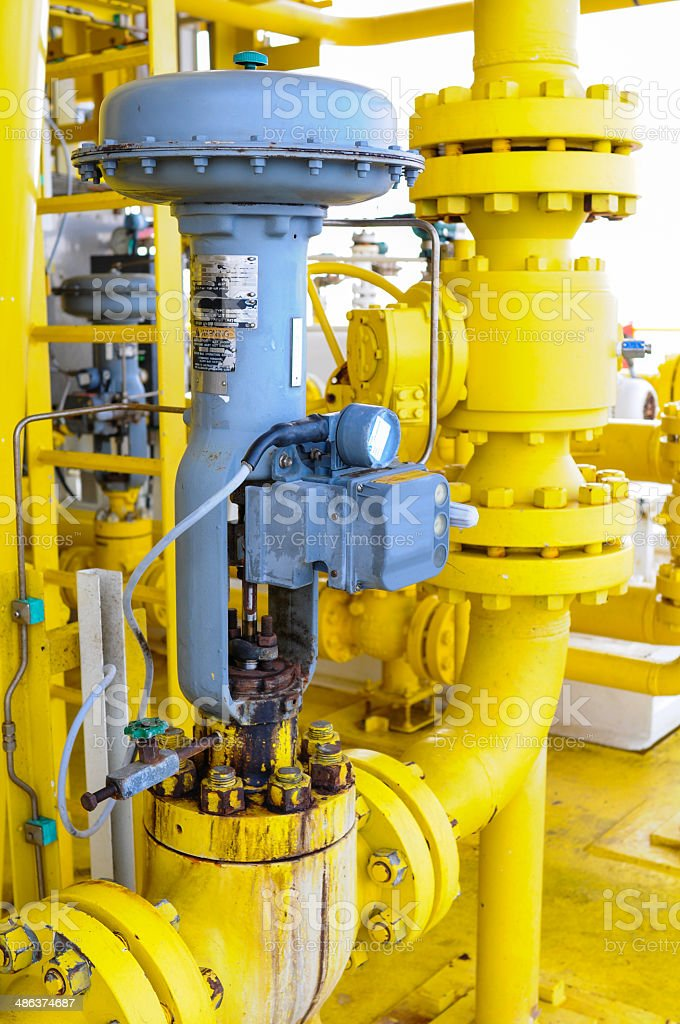 Control valve or pressure regulator in oil and gas process stock photo