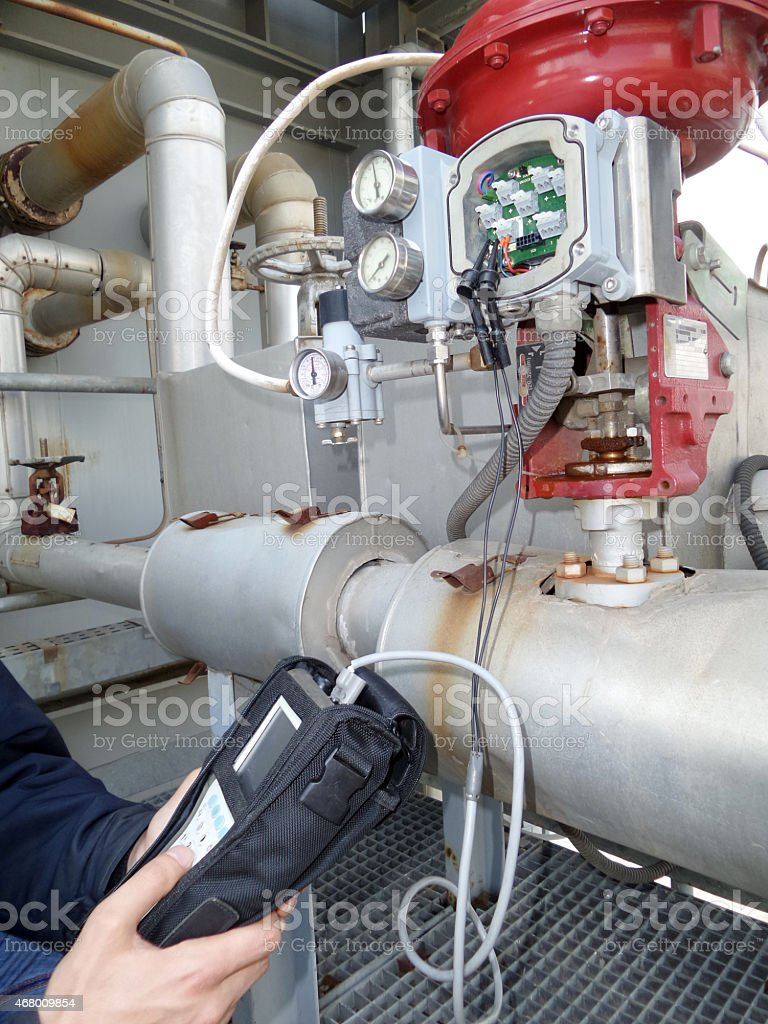 Control valve site calibration stock photo