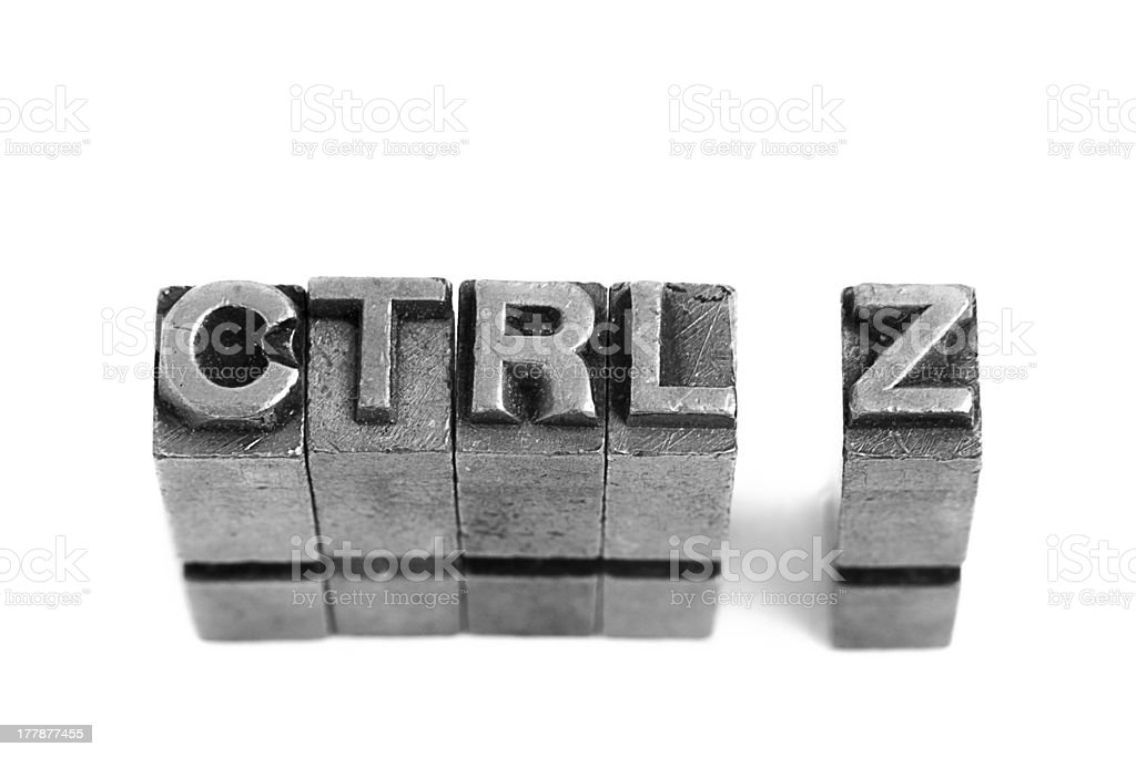 control z, undo sign, antique metal letter type royalty-free stock photo