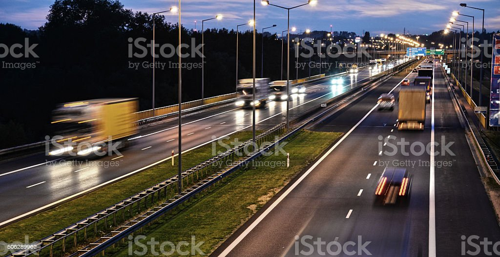 Controlled-access highway in Poznan, Poland stock photo