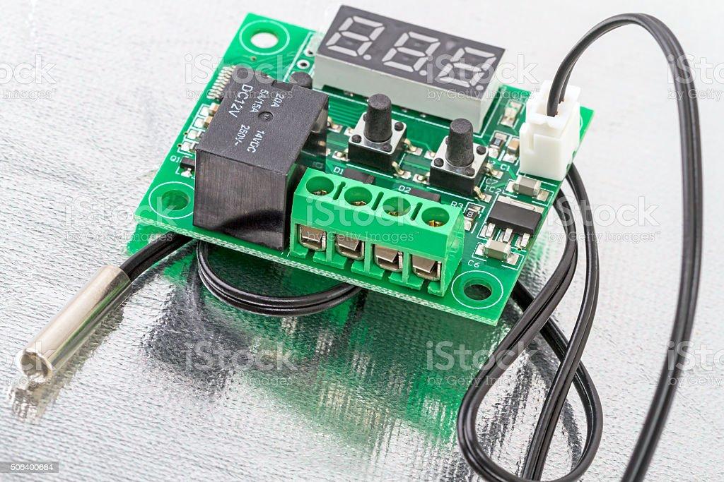 Controller with a temperature sensor stock photo