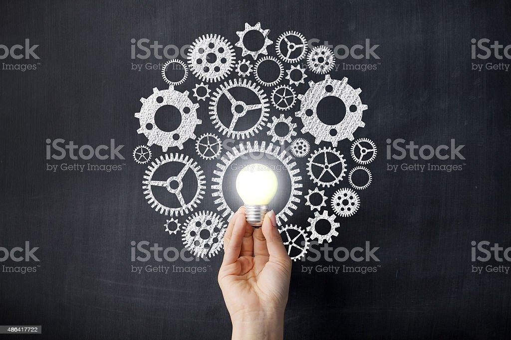 Controlling on blackboard stock photo